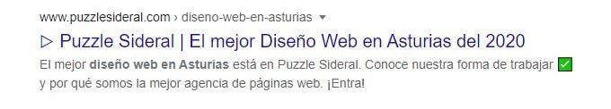 SERP Diseño web Asturias Puzzle Sideral